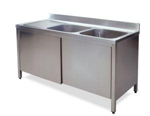 LT1017 Lavatoio su Armadio in acciaio inox 2 vasche 1 sgocciolatoio sx alzatina 140x60x85