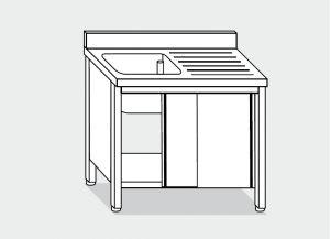 LT1029 Lave Gabinete en acero inoxidable de 1 taza 1 derecha escurridor backsplash 120x70x85