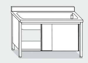 LT1052 pote en una tina de acero inoxidable de la pared posterior del gabinete 100x70x85