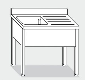 LT1061 lavado de las patas de acero inoxidable de un tazón de fuente un derecho escurridor backsplash 130x60x85