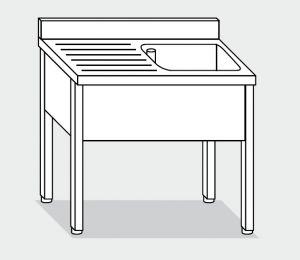 LT1064 lavado de las patas de acero inoxidable de 1 1 recipiente escurridor a la izquierda la pared posterior 120x60x85