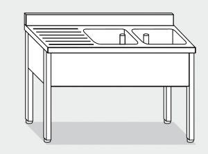 LT1078 Lavatoio su Gambe in acciaio inox 2 vasche 1 sgocciolatoio sx alzatina 180x60x85h