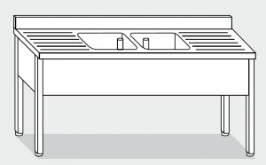 Lave LT1082 en las patas de acero inoxidable 2 tazones dos escurridores 200x60x85h backsplash
