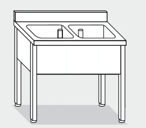 LT1100 lavado de las patas de acero inoxidable 2 taza backsplash 130x70x85