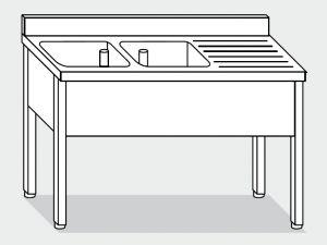 LT1105 Lavatoio su Gambe in acciaio inox 2 vasche 1 sgocciolatoio sx alzatina 190x70x85