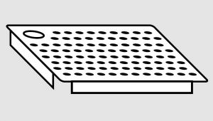EU91101-05 Falsofondo in acciaio inox forato foro a Destra dim. Cm 50x50