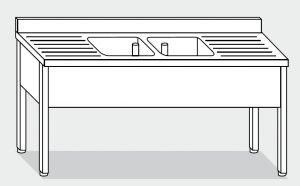 Lave LT1113 en las patas de acero inoxidable 2 tazones dos escurridores backsplash 200x70x85