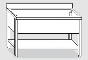 LT1147 lavado en las piernas con una estantería en estantería de acero inoxidable bañera backsplash 140x60x85