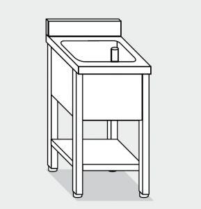 Lave LT1151 en las piernas con una estantería en la bañera plataforma de acero inoxidable backsplash 80x70x85