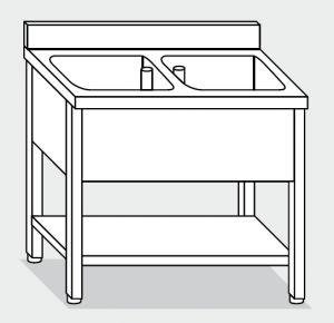 Lave LT1161 en las piernas con 2 estantes de acero inoxidable tazón plataforma backsplash 120x70x85