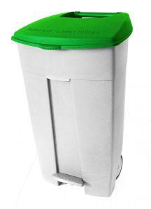T102038 Contenitore mobile a pedale in plastica bianco-verde 120 litri (multipli 3 pz)