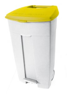 T102536 Mobile plastic pedal bin White - yellow 120 liters