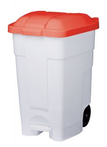 T102547 Mobile plastic pedal bin White Red 70 liters