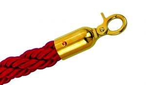 T601331 Red rope 2 gold color fixing hooks for crowd control post 1,5 meters
