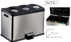 T106500 Cubo de basura con pedal para recogida selectiva TRIPLE 3x12 litros