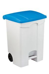 T115075 Contenitore mobile a pedale in plastica bianco coperchio blu 70 litri (confezione da 3 pezzi)