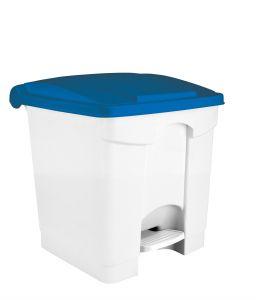 T115305 Pattumiera a pedale in plastica Bianca coperchio Blu 30 litri (confezione da 3 pezzi)
