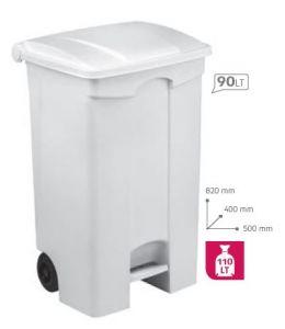 T115590 Contenitore mobile a pedale in plastica BIANCO 90 litri