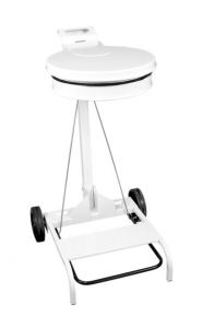T601042 White steel Wheeled pedal operated sack holder