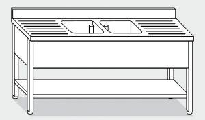 LT1175 Lavatoio su Gambe con ripiano in acciaio inox 2 vasche 2 sgocciolatoi alzatina ripiano 200x70x85