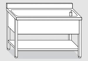 LT1177 lavado en las piernas con una estantería en estantería de acero inoxidable bañera backsplash 120x70x85