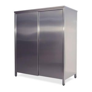 AN6024 neutral stainless steel cabinet with sliding doors