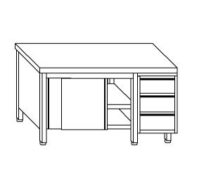TA4017 cupboard with stainless steel doors on one side and drawers DX