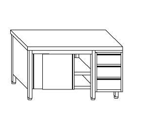 TA4022 Tavolo armadio in acciaio inox con porte su un lato e cassettiera DX 220x60x85