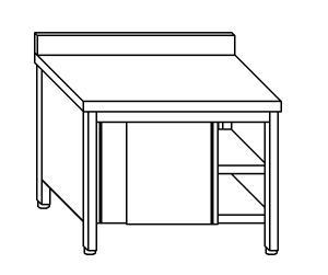 TA4038 Tavolo armadio in acciaio inox con porte su un lato con alzatina 100x60x85