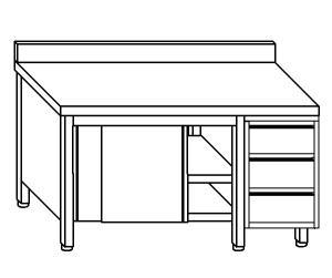TA4056 Tavolo armadio in acciaio inox con porte su un lato, alzatina e cassettiera DX 210x60x85