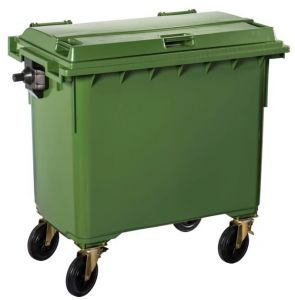 T766653 Contenitore rifiuti da esterno 4 ruote 770 litri VERDE