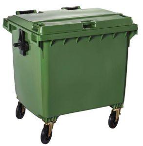 T766663 Contenitore rifiuti da esterno 4 ruote da 1100 litri VERDE