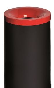T770017 Gettacarte antifuoco corpo metallo nero coperchio Rosso 50 litri