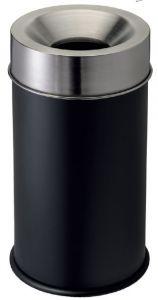 T770051 Gettacarte antifuoco corpo nero testa inox 50 litri