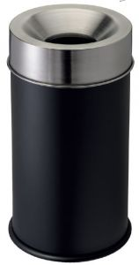 T770052 Gettacarte antifuoco corpo nero testa inox 90 litri