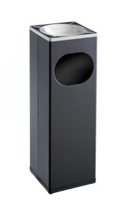 T790002 Papelera-cenicero cuadrada metal negro y inox 15 litros