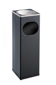 T790002 Portacenere-gettacarte 15 litri quadrato acciaio nero