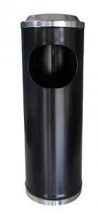 T790113 Papelera-cenicero metal negro 11 litros