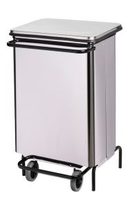 T790640 Stainless steel Wheeled pedal waste bin with front opening
