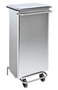 T790664 Contenitore mobile acciaio inox brillante a pedale 110 litri tubulari inox