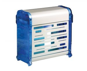 T903072 Sterminatore d'insetti metallo bianco Blu con griglia elettrica Insettivor Fluo 20W