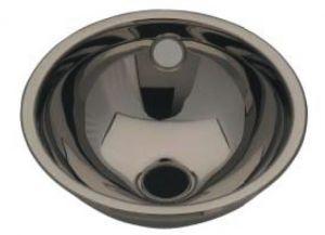 LX1080 Lavabo sferico in acciaio inox scarico centrale 420X455X160 mm - LUCIDO -