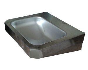 """LX1350  Lavabo rettangolare """"Chigi""""con mensole in acciaio inox 500x445x133 mm -LUCIDO -"""