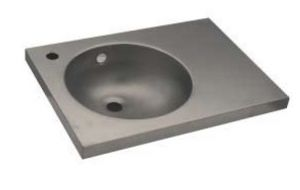 LX1570 Lavabo con piano in acciaio inox 600X350X125 mm - SATINATO -