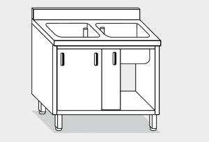 11610.10 Lavatoio armadio g40 cm 100x60x85h 2 vasche - porte scorrevoli