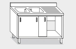 11711.19 Lavatoio armadio g40 cm 190x70x85h 2 vasche e sg dx - porte scorrevoli
