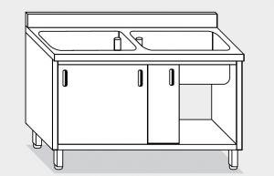 11721.20 Lavapentole armadio g40 cm 200x70x85h 2 vasche - porte scorrevoli