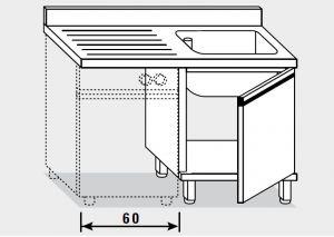 11902.12 Lavatoio per lavast. armadio g40 cm 120x60x85h 1v e sg sx - porta battente