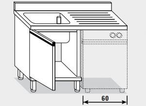 11951.12 Lavatoio per lavast. armadio g40 cm 120x70x85h 1v e sg dx - porta battente