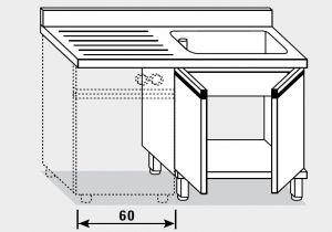 11952.14 Lavatoio per lavast. armadio g40 cm 140x70x85h 1v e sg sx - porte battenti